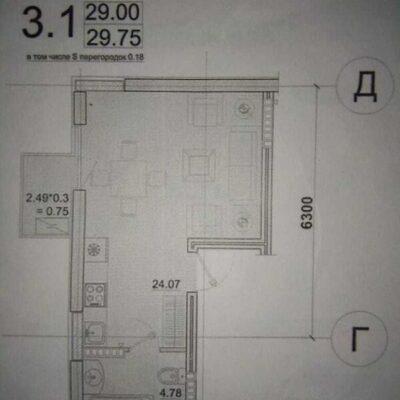 Квартира-студия 30м2 в ЖК Пространство на Педагогической