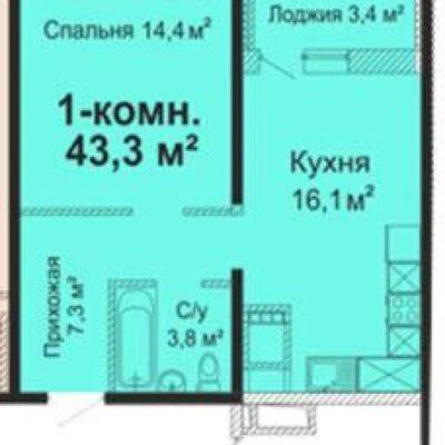 1-комнатная квартира возле парка Горького в ЖК Скай Сити
